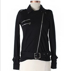 Bershka Black asymmetrical zip moto jacket Small